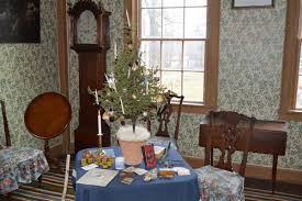 a tabletop christmas tree decorated in the style of the 1830s courtesy of old sturbridge village