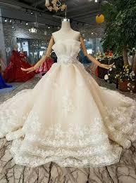<b>Champagne</b> Ball Gown <b>Tulle Appliques</b> Backless <b>Wedding</b> Dress ...