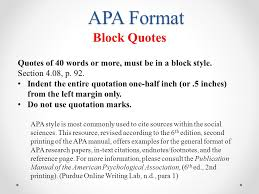 Quote Apa Format Extraordinary Format For Block Quotes Peopledavidjoelco