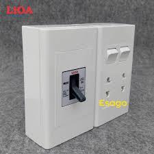 Bảng giá Combo ổ cắm điện đôi 2 chấu 16A (3520W) + 2 công tắc điện LiOA có  cầu dao chống quá tải 15A Lắp nổi