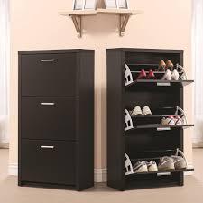 Black Wooden Tall 3-Drawer 12 Pair Shoe Organizer Cabinet Storage Rack  Shelf New | eBay