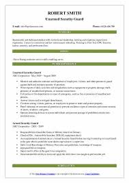 Security Guard Resume Examples Armed Security Guard Resume Samples Qwikresume