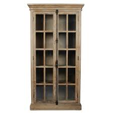tall antique glass door display cabinet
