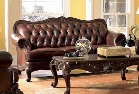 elizabeth traditional leather sofa with wood trim