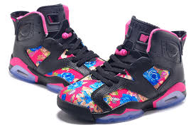 jordan shoes for girls 2015. girls air jordan 6 retro gs black pink leather flower print for sale-4 shoes 2015