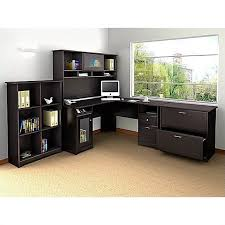 bush furniture cabot x x with hutch 6 cube bookcase and lateral file espresso oak