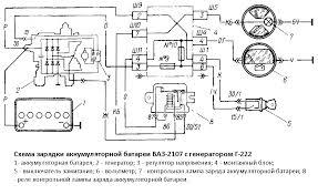 Схема зарядки ваз схема генератора ваз  Схема зарядки аккумуляторной батареи ВАЗ 2107 с генератором Г 222