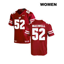 No 52 Stitched Under Wisconsin Authentic Jersey Maxwell Jacob Womens Badgers Red Football College Armour