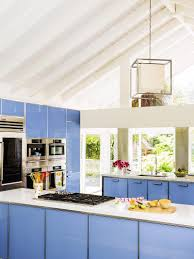 colorful kitchen ideas. View In Gallery Wedgwood Blue Tempered Glass Cabinets With Quartz Countertops Colorful Kitchen Ideas