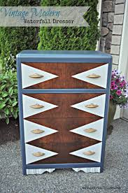 This vintage modern waterfall dresser was refinished in a geometric paint  pattern and vintage art deco. Waterfall FurnitureWaterfall ...