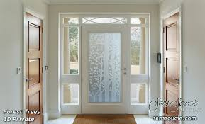 glass entry doors etched glass trees rustic style forest trees 3d private