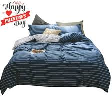 details about modern striped duvet cover set twin navy blue white reversible bedding se new