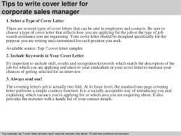 Sample Cover Letter Sales Manager Corporate Sales Manager Cover Letter