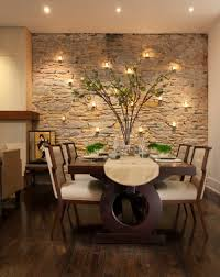 natural stone wall mounted lamps ceiling ambient lighting unique dark wood dining table fake plastic tree hardwood floor white fabric upholstered dining ceiling ambient lighting