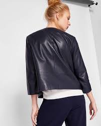 ted baker womenswear collection clothing navy ovine leather rennay leather collarless jacket womens leather biker jackets