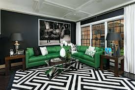 black and white rugs green leather l shaped sofa with striped black and white rug black black and white rugs