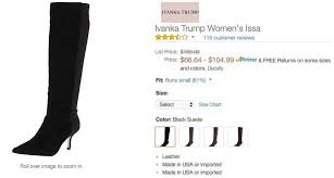 Ivanka Trump Plus Size Chart Amazon Reviewers Skewer Ivankas Gestapo Boots Sfgate