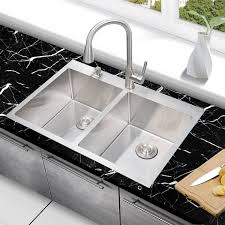 conventional faucets Double Bowl Modern Iron Drop In Kitchen Sink