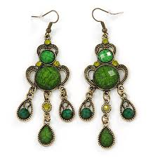 victorian style green olive acrylic bead chandelier earrings in antique gold tone 80mm l
