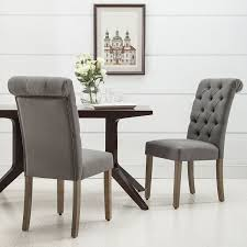amazon christies home living roll top tufted linen fabric modern urban contemporary dining chair set of 2 chairs