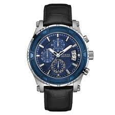 guess watches guess men s 46 5mm black leather band steel case quartz analog watch w0673g4