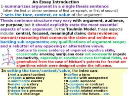 Strong Essay Writing Essay Introductions A Strong Thesis Sentence In An Engaging Context