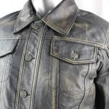 men s leather denim style jacket in vintage