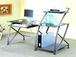 glass computer desk corner corner desk with glass top glass top metal and glass computer desks