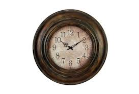 Analog round indoor wall standard clock. 24 Inch Bronze Round Wall Clock Living Spaces