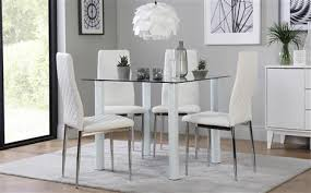 nova square white glass dining table with 4 renzo white chairs chrome legs