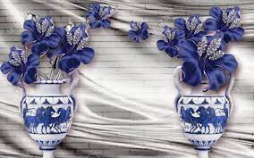 3d Wallpaper Design Wtih Blue Flowers ...