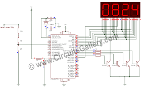 digital voltmeter using pic microcontroller 16f877a and seven digital voltmeter using pic16f877a microcontroller circuit diagram