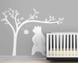 large honeyland wall decals white tree decal with cute bear wall decal for kids baby nursery on bear wall art nursery with large honeyland wall decals white tree decal with cute bear wall