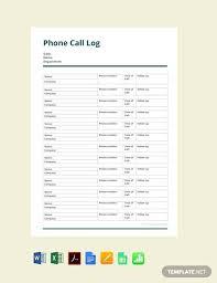 Free Phone Call Log Template Pdf Word Excel Apple