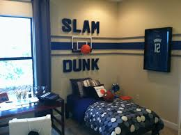 Awesome Basket Ball Pattern Interior Decors Added Blue Striped Wall Boys  Bedroom Paint Ideas As Well As Blue Cover Single Beds Designs
