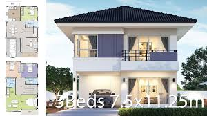 25m Design House Design Plan 7 5x11 25m With 4 Bedroom House Plan Map