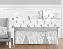 grey and white woodland deer baby bedding 9 piece boys crib set