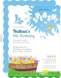 8th Birthday Party Invitations Splash Water Balloon Birthday Invitation Big Wavy Vintage Boys