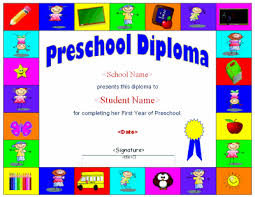 Graduation Templates Word Preschool Diploma Template With Versions In Word And Pdf