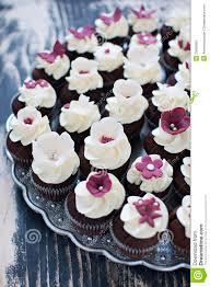 Wedding Cupcakes With Fondant Flower Decorations Stock Image Image