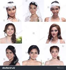 beauty collage of beautiful wedding makeup and hair in difference style many races asia