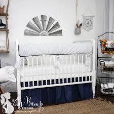 farmhouse navy white ticking stripe gender neutral baby crib bedding