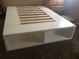 queen size white painted wooden low profile bed frame with storage shelves inspiring diy bed