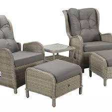 rattan recliner chairs 2 stools set