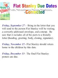 Flat Stanley Due Dates Corrected