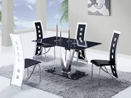 dining sets with chairs fixed black gl top leather dinette tables
