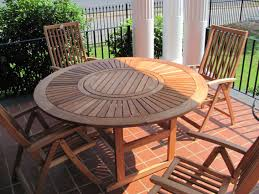 full size of patio appealing unpolished teak wood round table combined with arm is also a