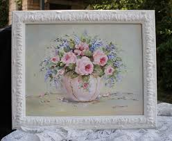 my original painting featuring a pink bowl of flowers available from my website
