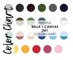 Color Chart For Printful Bella Canvas 3001 T Shirt Colour Swatch Guide Shirt Jpeg Download Bella And Canvas Mockup Shop Unisex Mens Womens