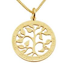 details about 9ct gold plated personalised filigree tree of life family pendant chain option